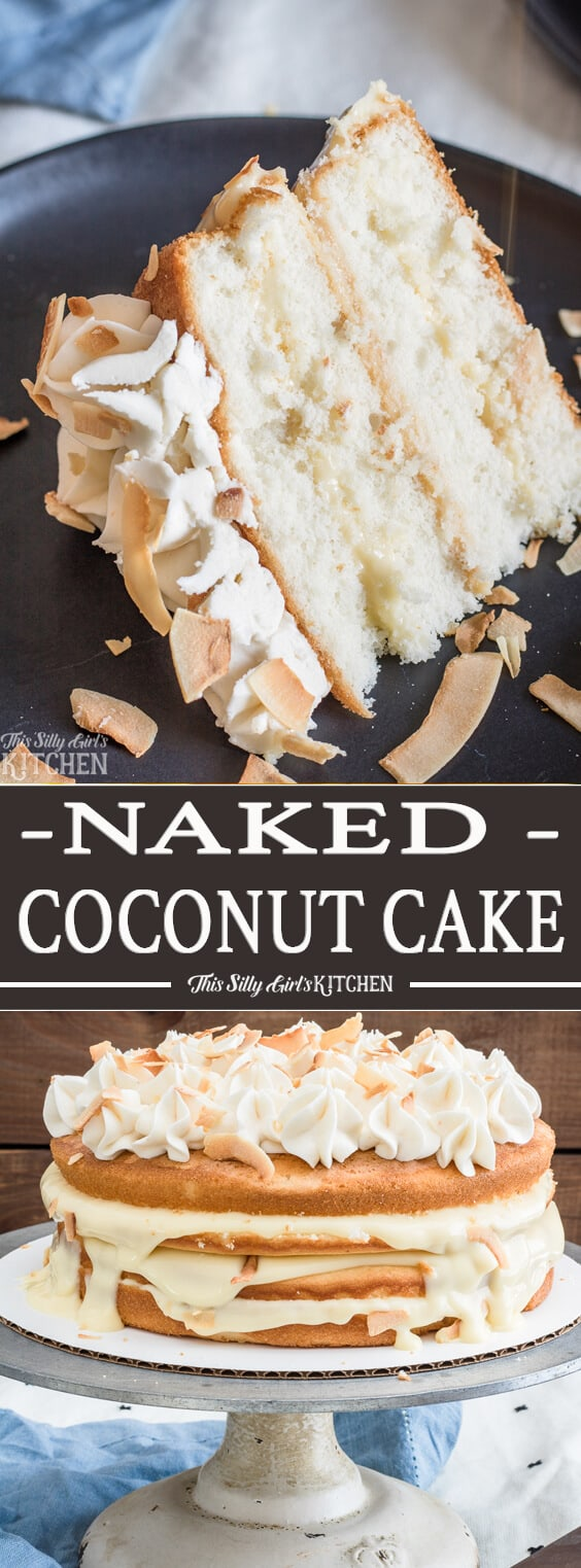 Naked Coconut Cake, layers of white cake, coconut pudding and coconut frosting, all topped with toasted coconut and caramel sauce! #Recipe from ThisSillyGirlsKitchen.com #coconut #coconutcake #cake #nakedcake