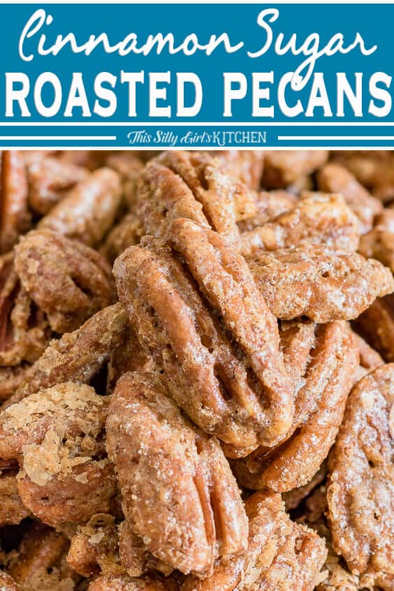 Close up of pecans with Title of recipe at top of photo