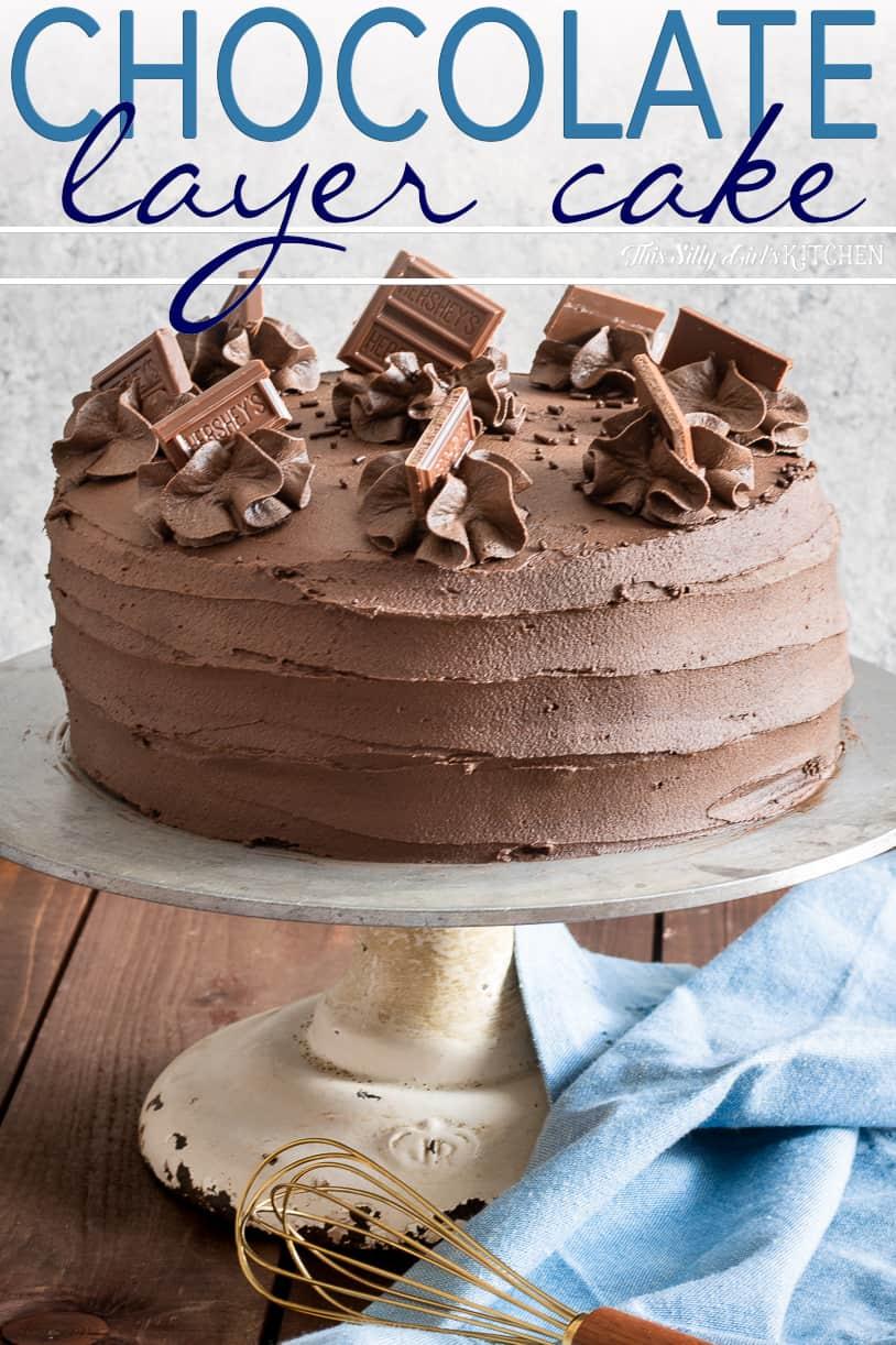 Chocolate Layer Cake on cake stand Pinterest Image