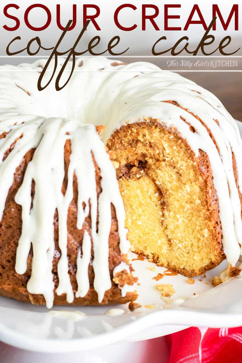 Close up of slice missing of Sour Cream Coffee Cake Pinterest Image