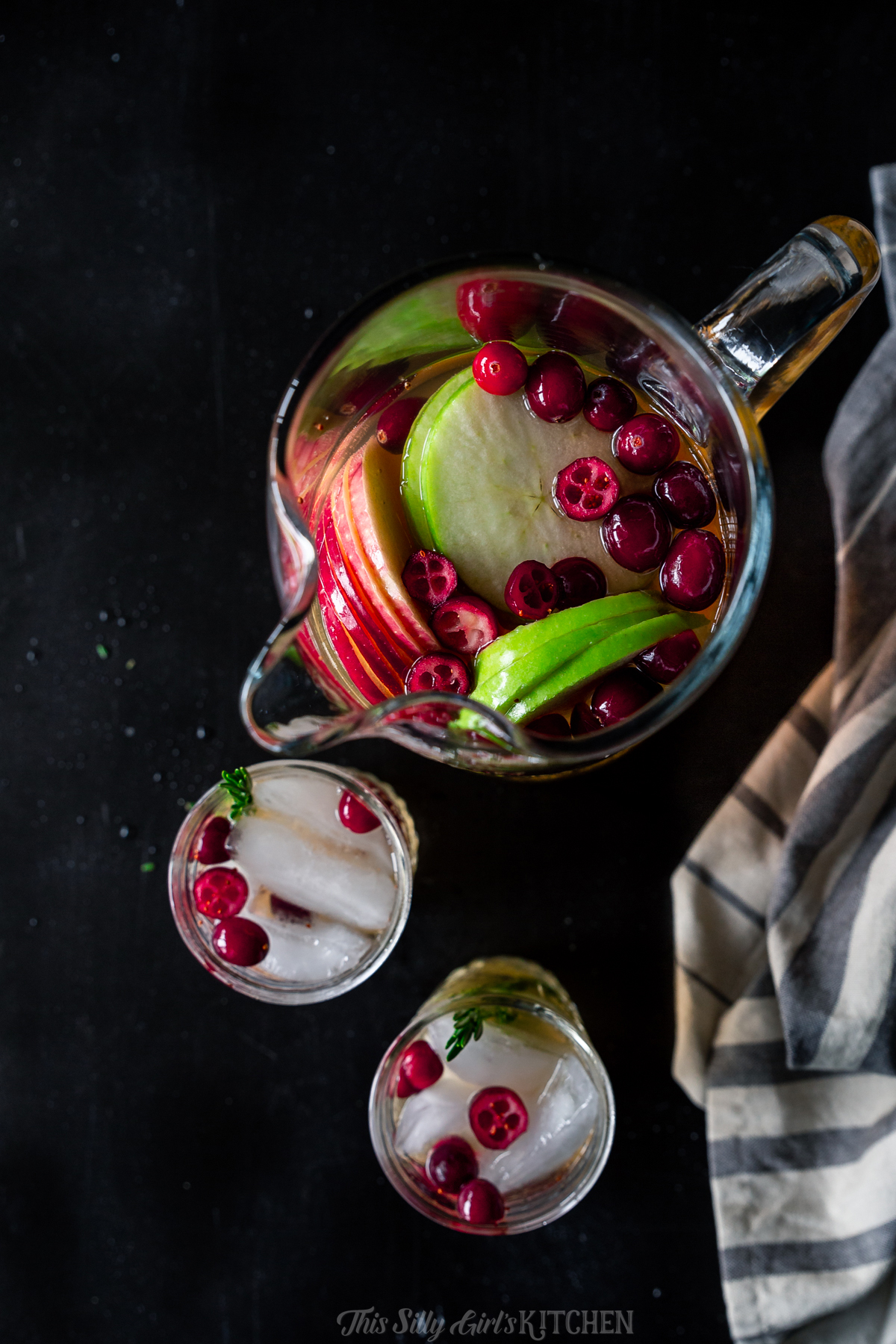 Overhead photo of sangria in glasses and pitcher