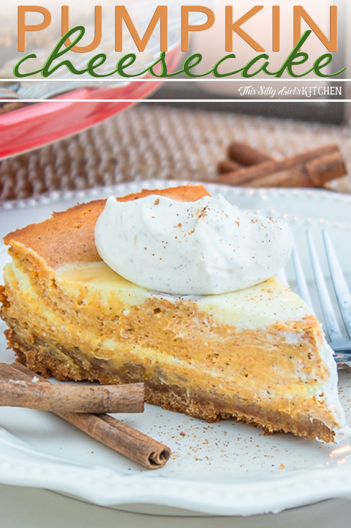 Close up of slice of cheesecake on white plate with cinnamon sticks Pinterest Image