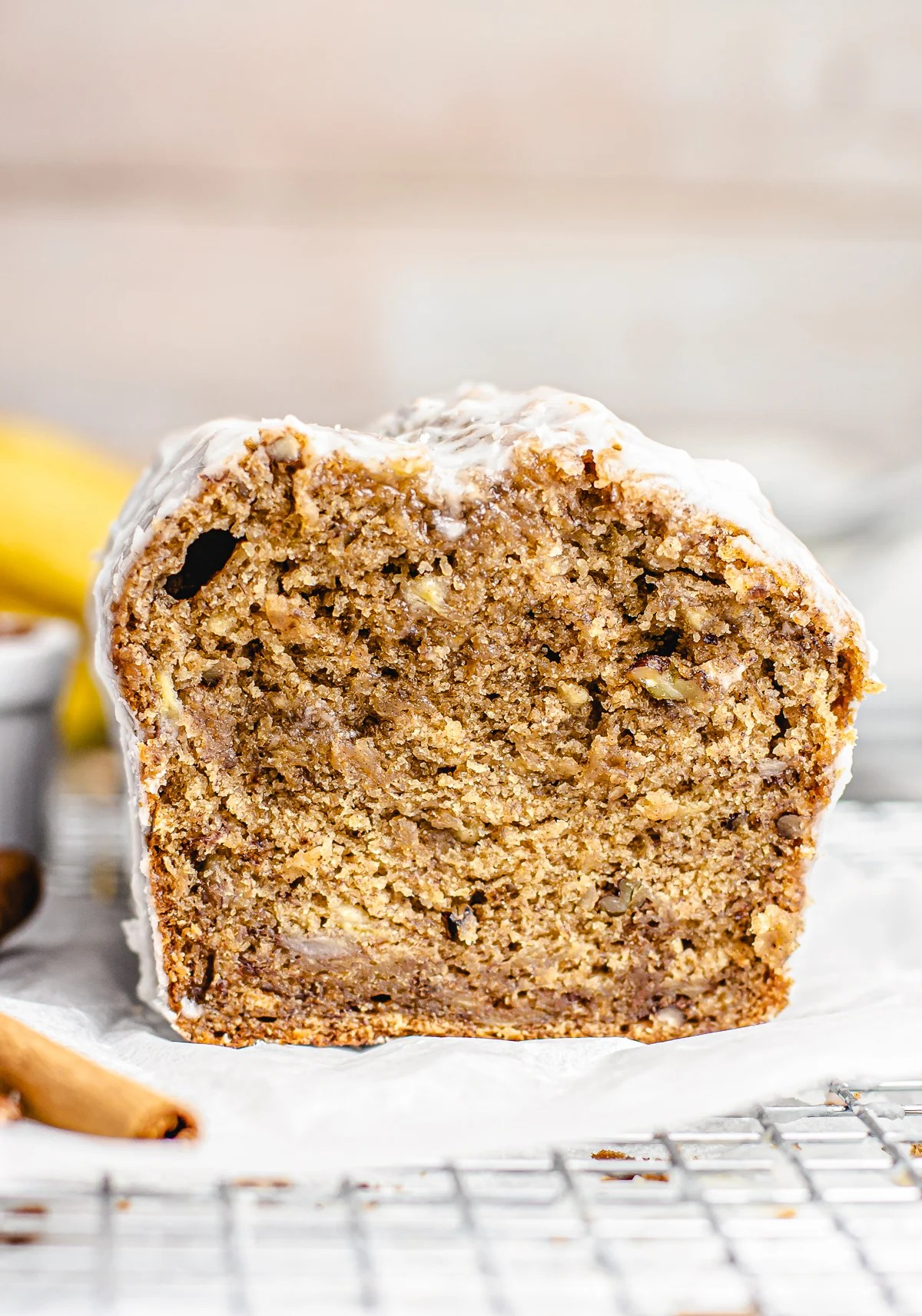 Banana But Bread cut showing the inside of bread
