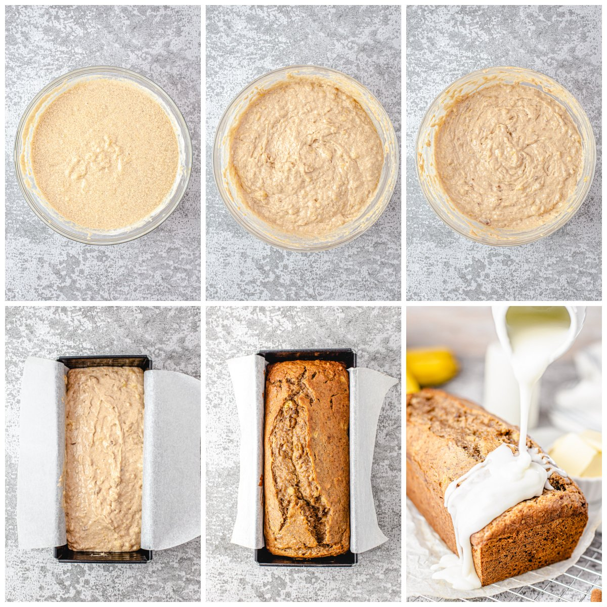 Step by step photos on how to make Banana Nut Bread