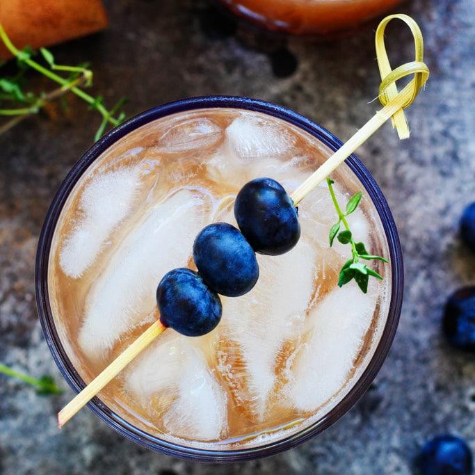Blueberry Bourbon Smash Cocktail