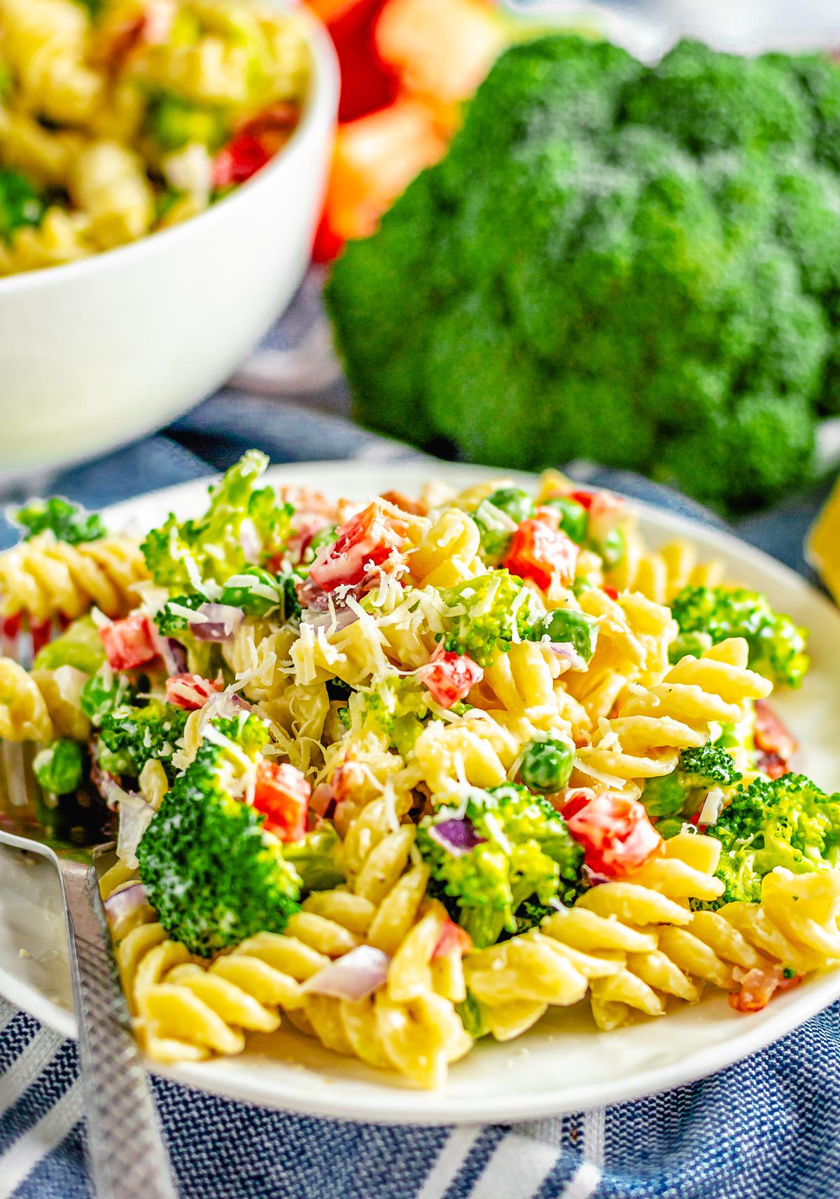 Close up of Broccoli Pasta Salad Recipe on plate