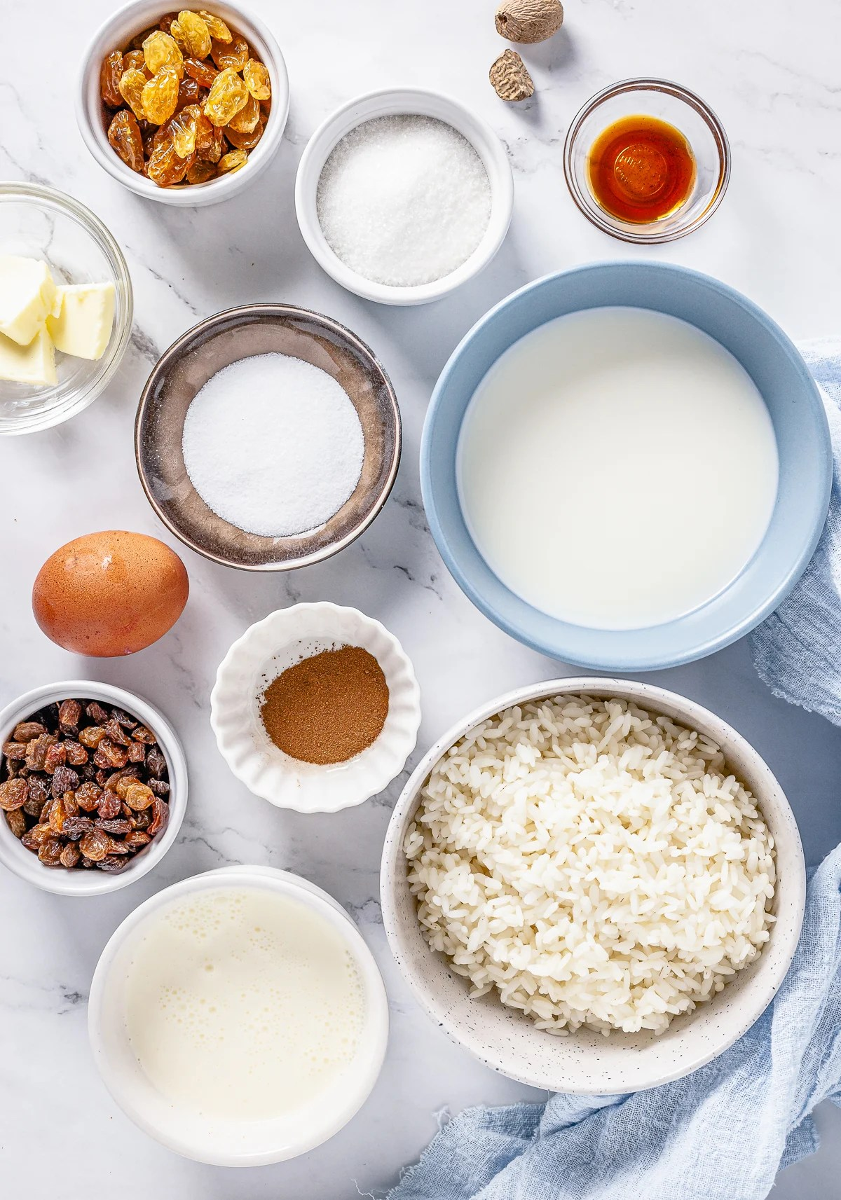 Ingredients needed to make Rice Pudding with Cooked Rice.