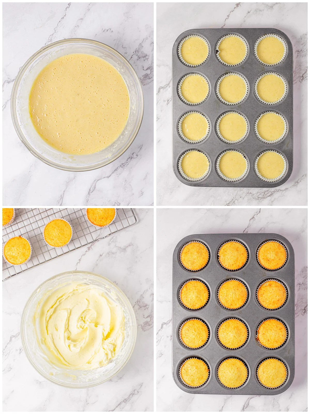 Step by step photos on how to make Pina Colada Cupcakes