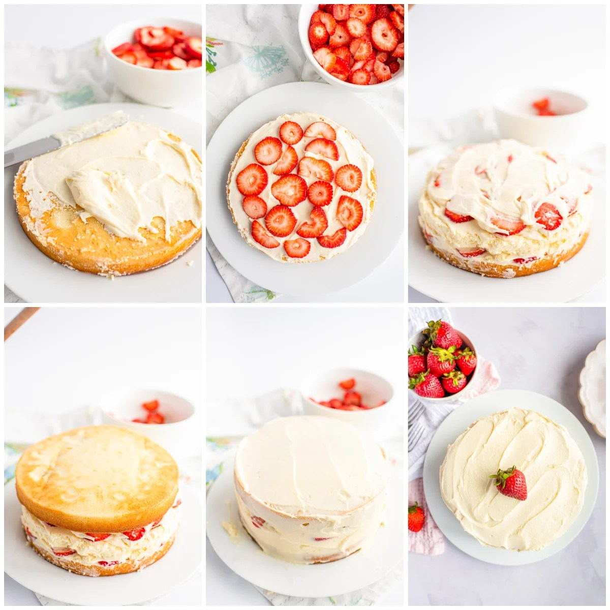 Step by step photos on how to assemble a Cheesecake Cake