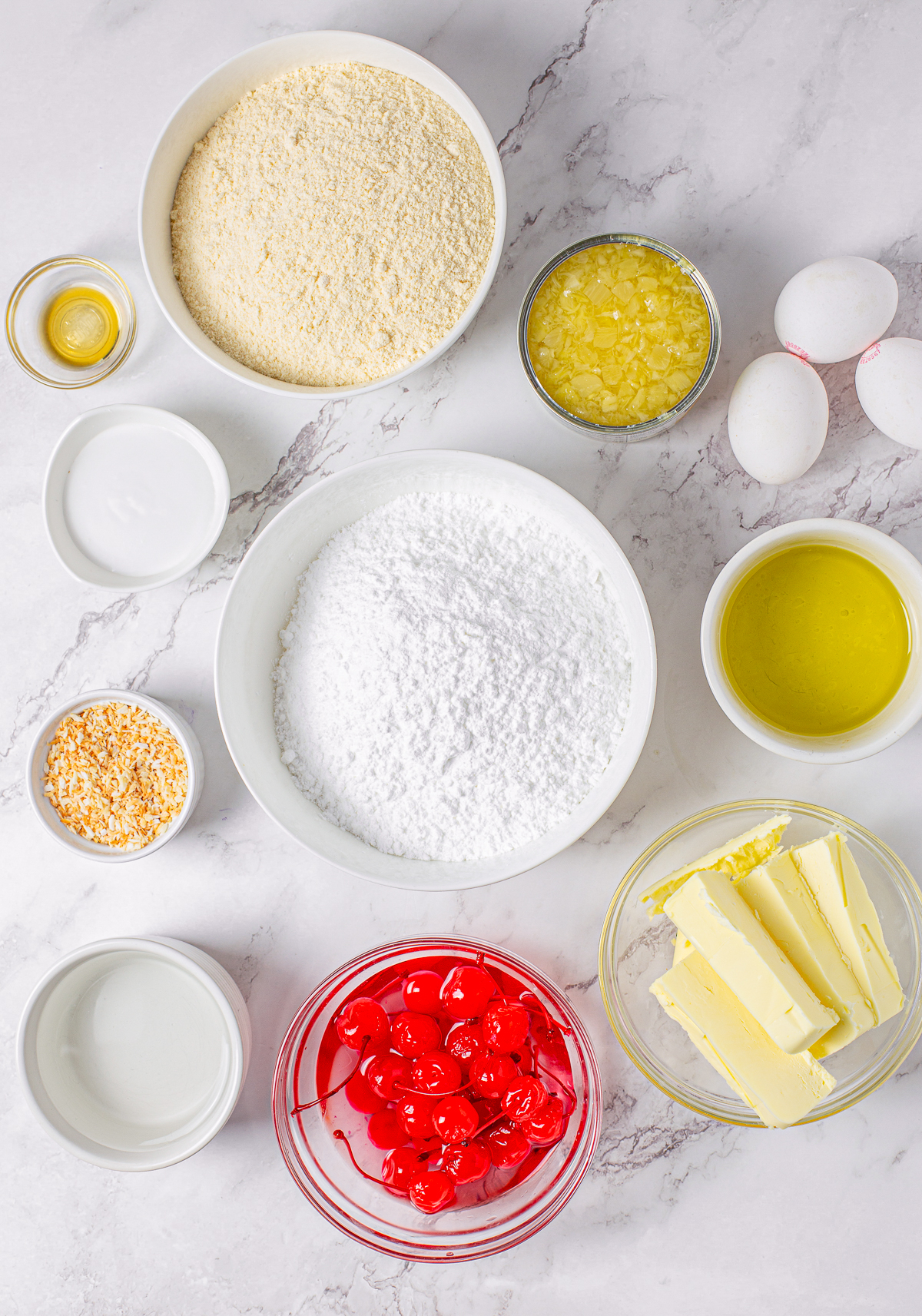 Ingredients needed to make a Pina Colada Cupcake Recipe