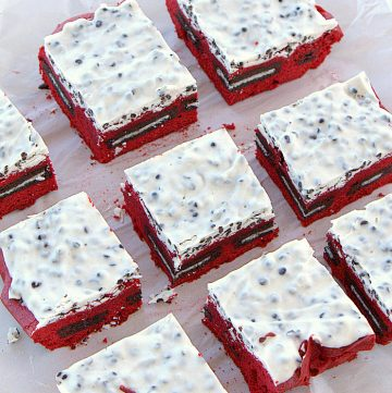Cut red velvet brownies square image