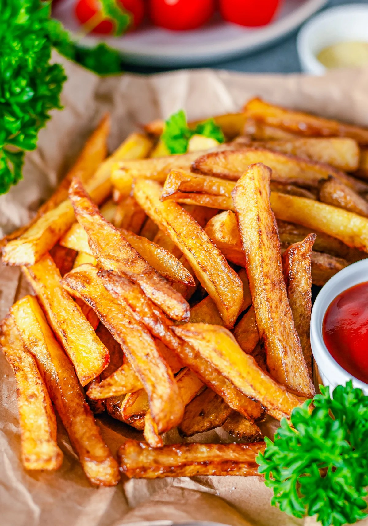 Close up of Homemade French Fries showing seasoning.