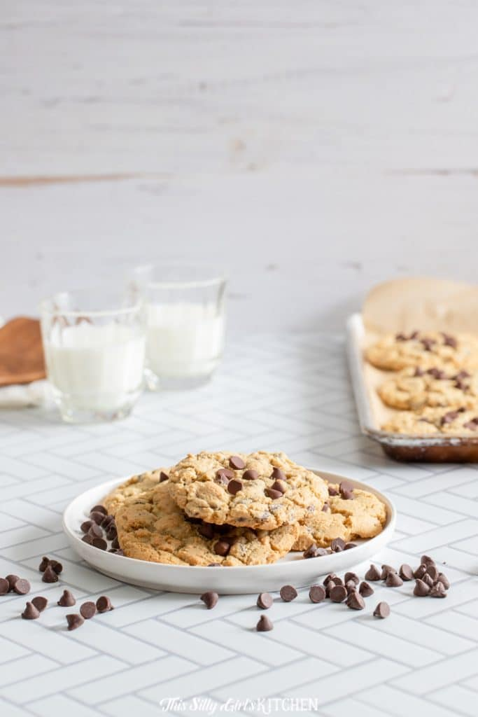 straight on shot, cookies on a plate in kitchen setting