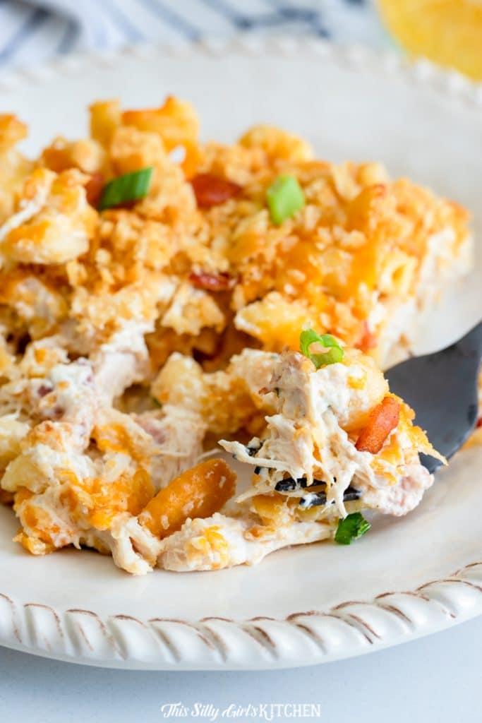 upclose bite of chicken noodle casserole