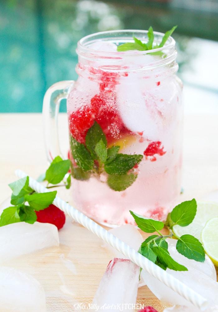straight on shot raspberry mojito