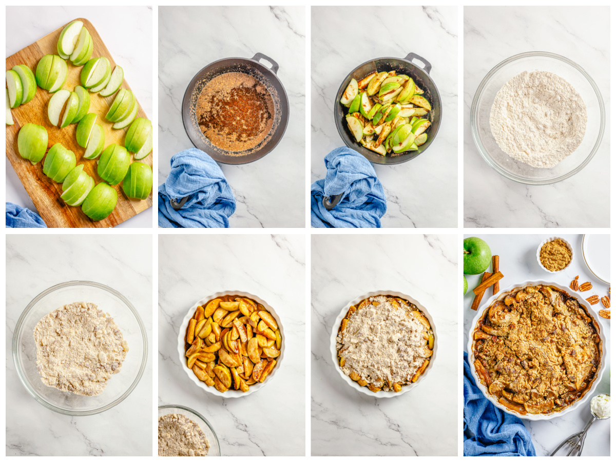 Step by step photos on how to make Easy Apple Crumble.
