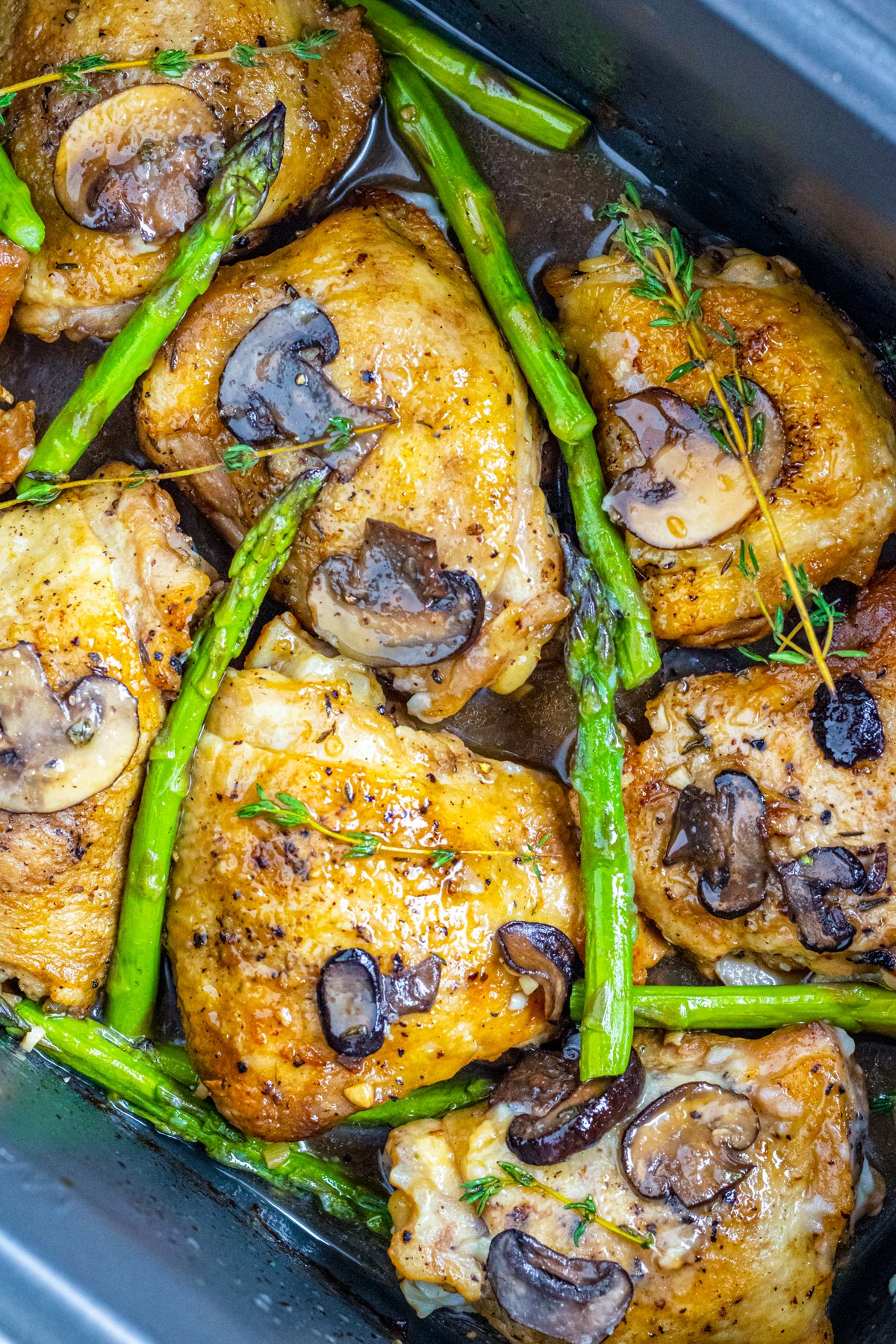 Close up view of Slow Cooker Marsala Chicken in slow cooker