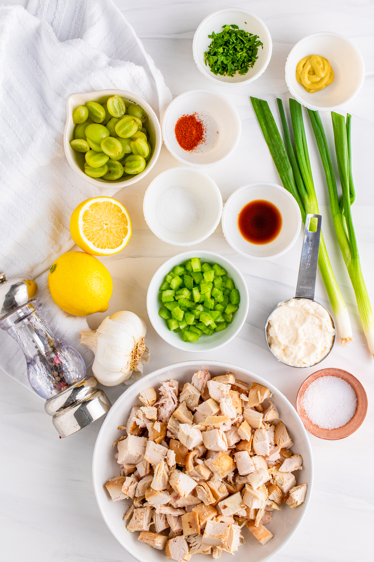Ingredients needed to make Chicken Salad with Grapes