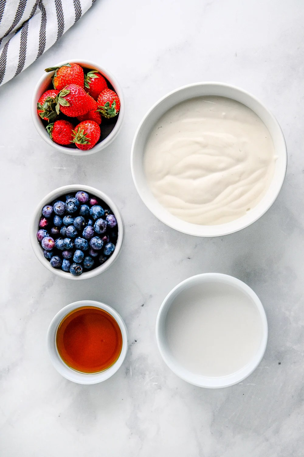 Ingredients needed to make Yogurt Bark