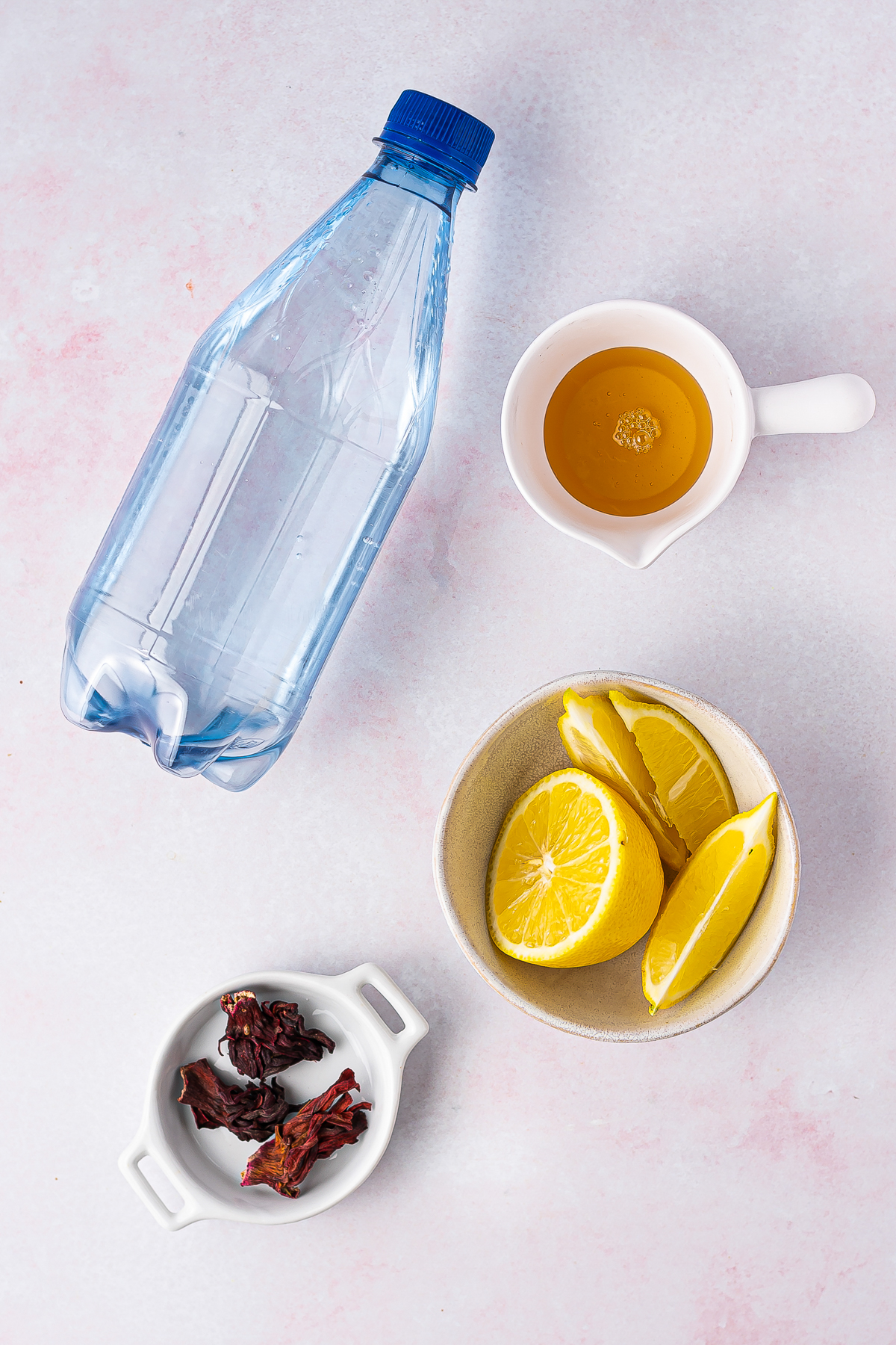 Ingredients needed to make a Hibiscus Tea Recipe