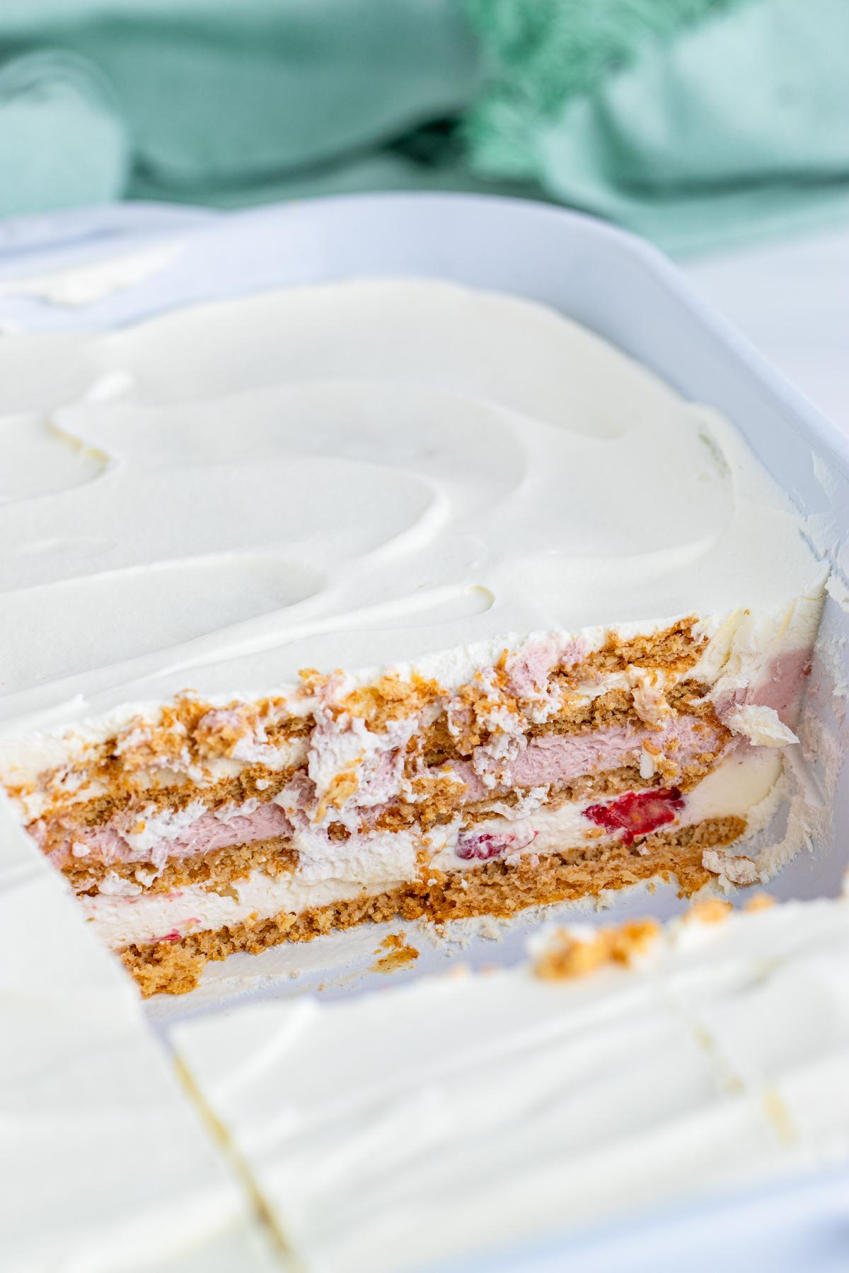 Inside pan of Icebox Cake Recipe showing layers