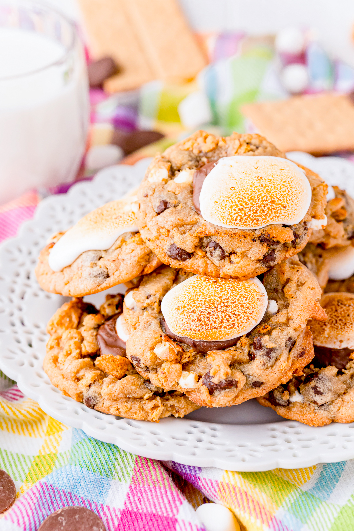 S'mores Cookies stacked on white plate