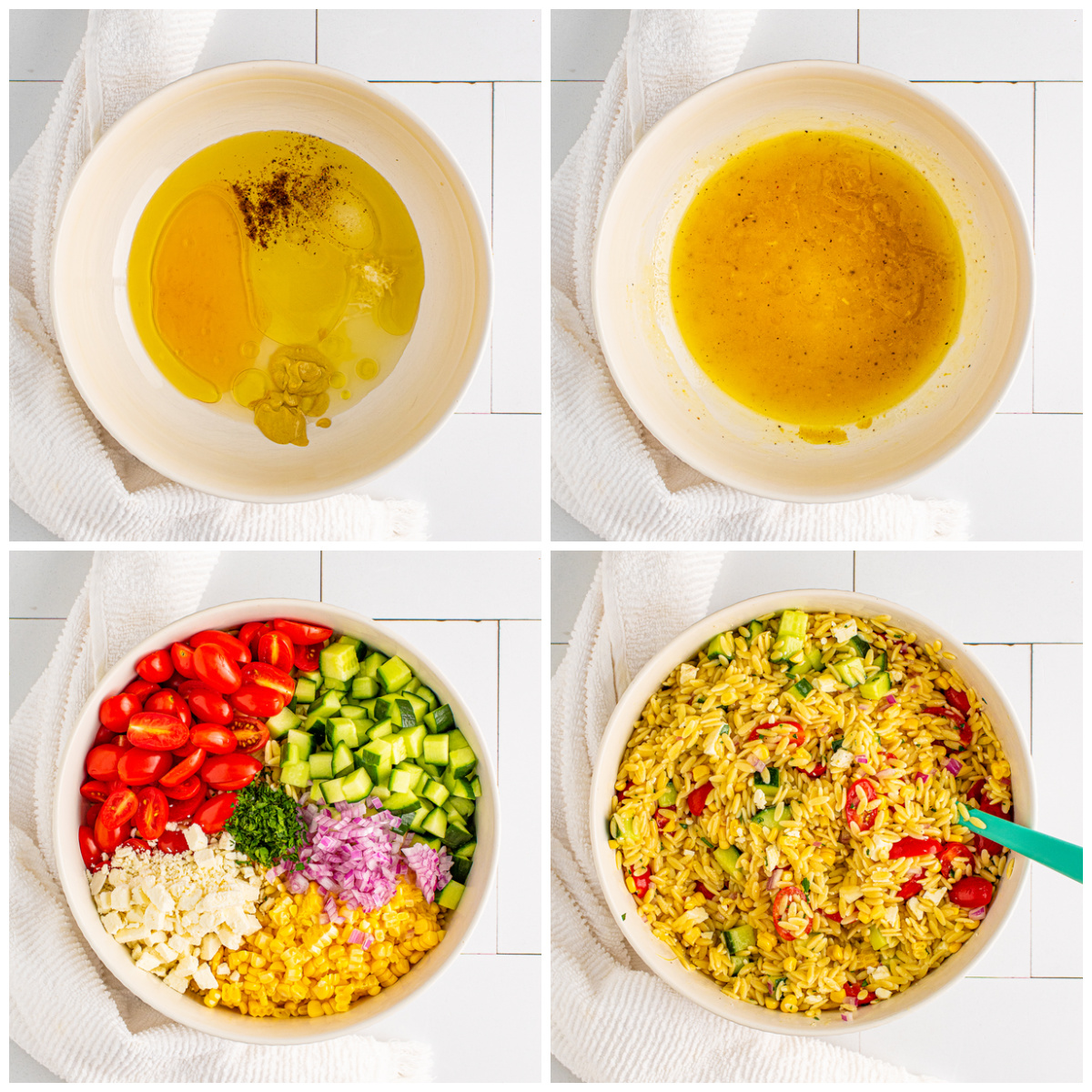 Step by step photos on how to make Orzo Pasta Salad