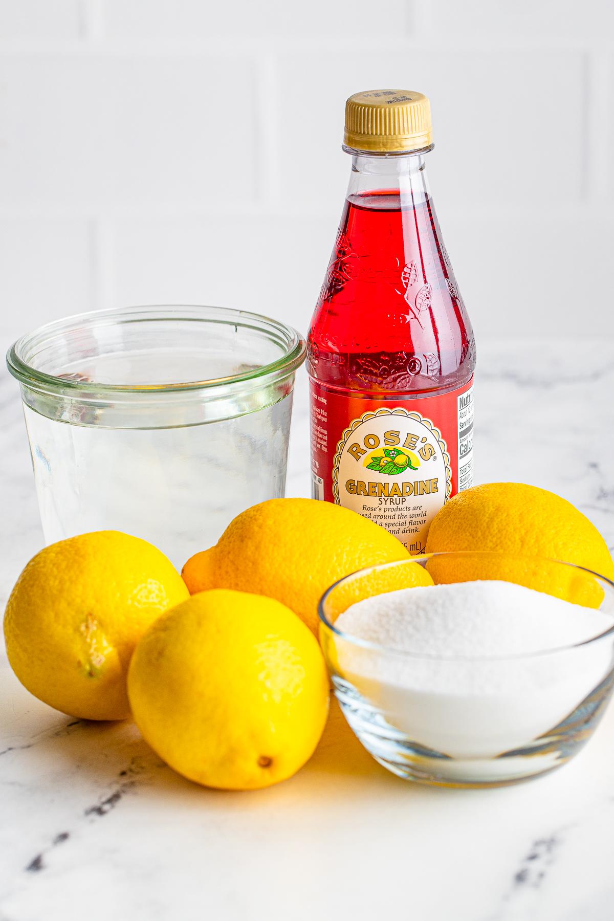 Ingredients needed to make pink lemonade
