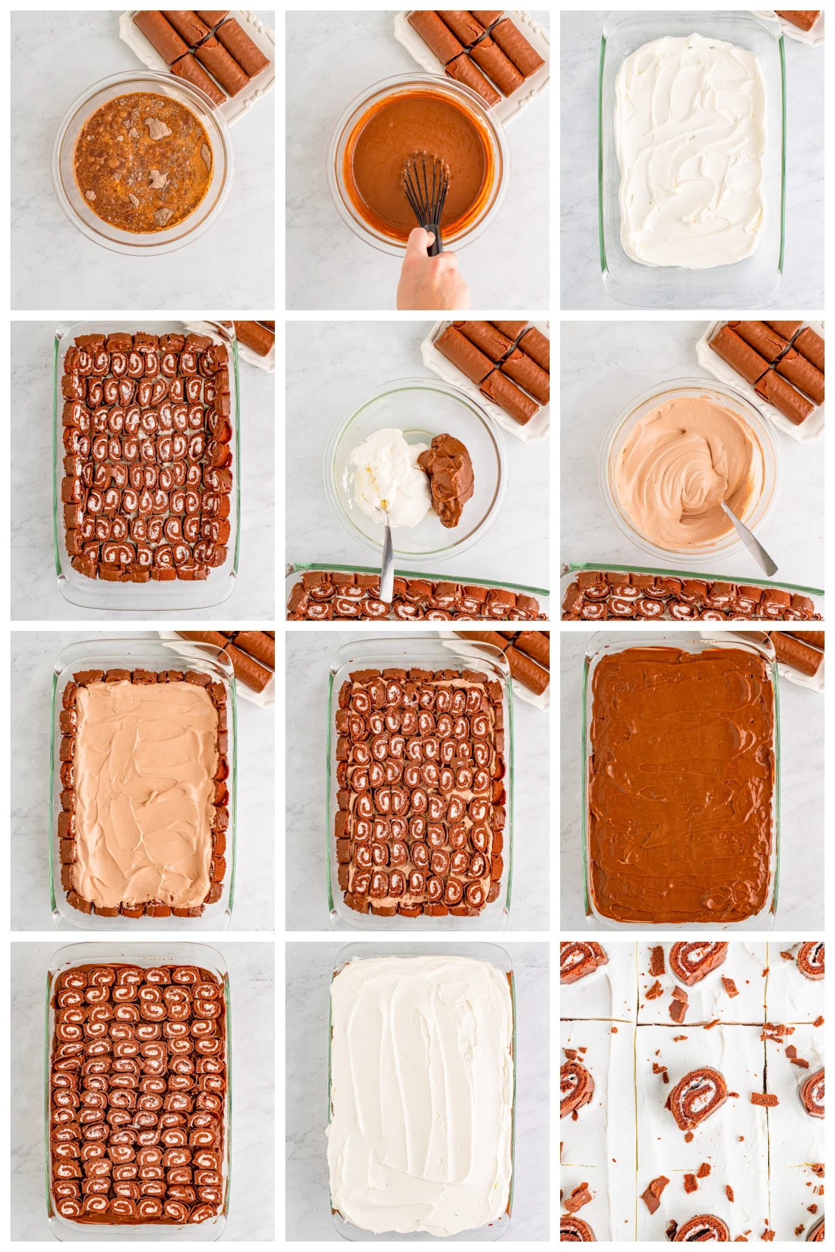 Step by step photos on how too make a Swiss Cake Roll Lush Cake