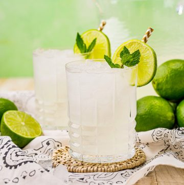 Square image of two glasses of Limeade