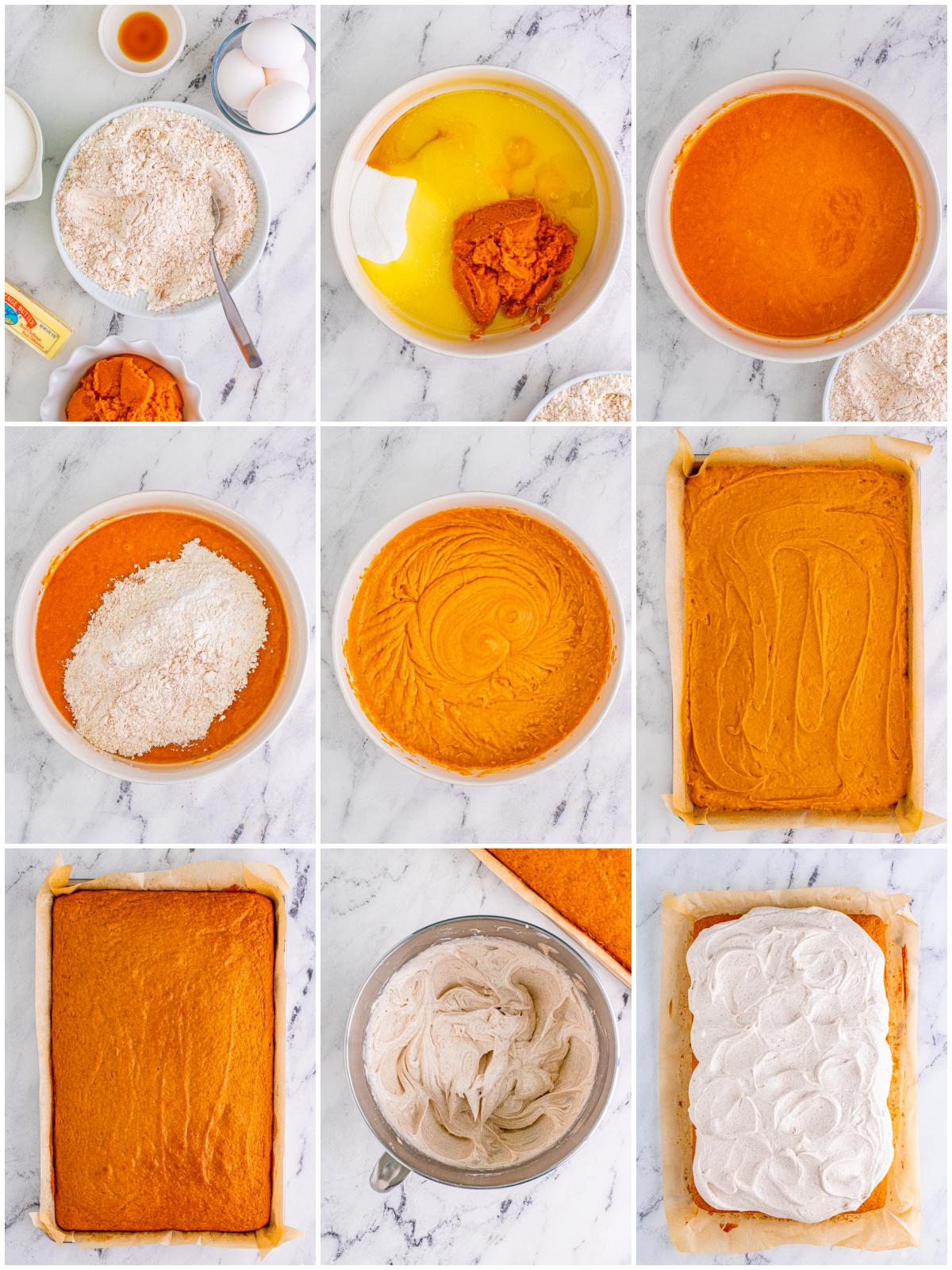 Step by step photos on how to make a Pumpkin Bar Recipe
