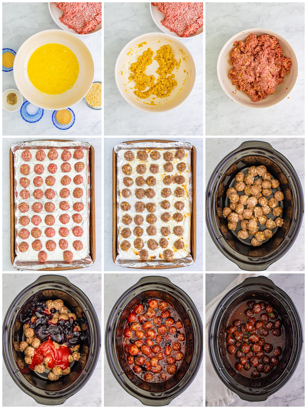 Step by step photos on how to make Crock Pot Grape Jelly Meatballs.