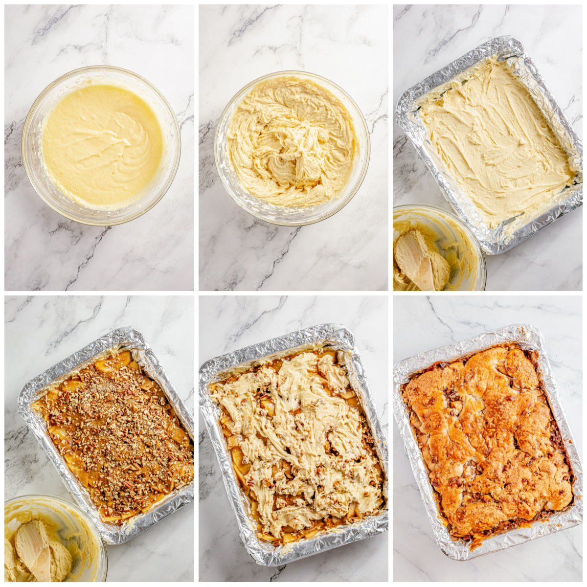 Step by step photos on how to make Apple Pie Bars.