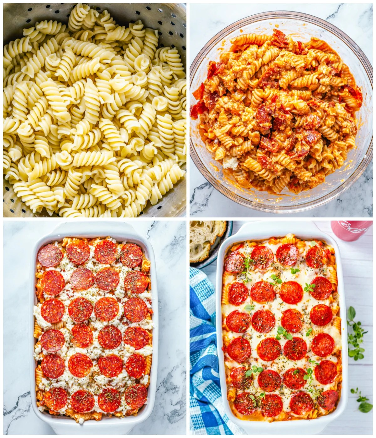 Step by step photos on how to make Pizza Pasta Bake