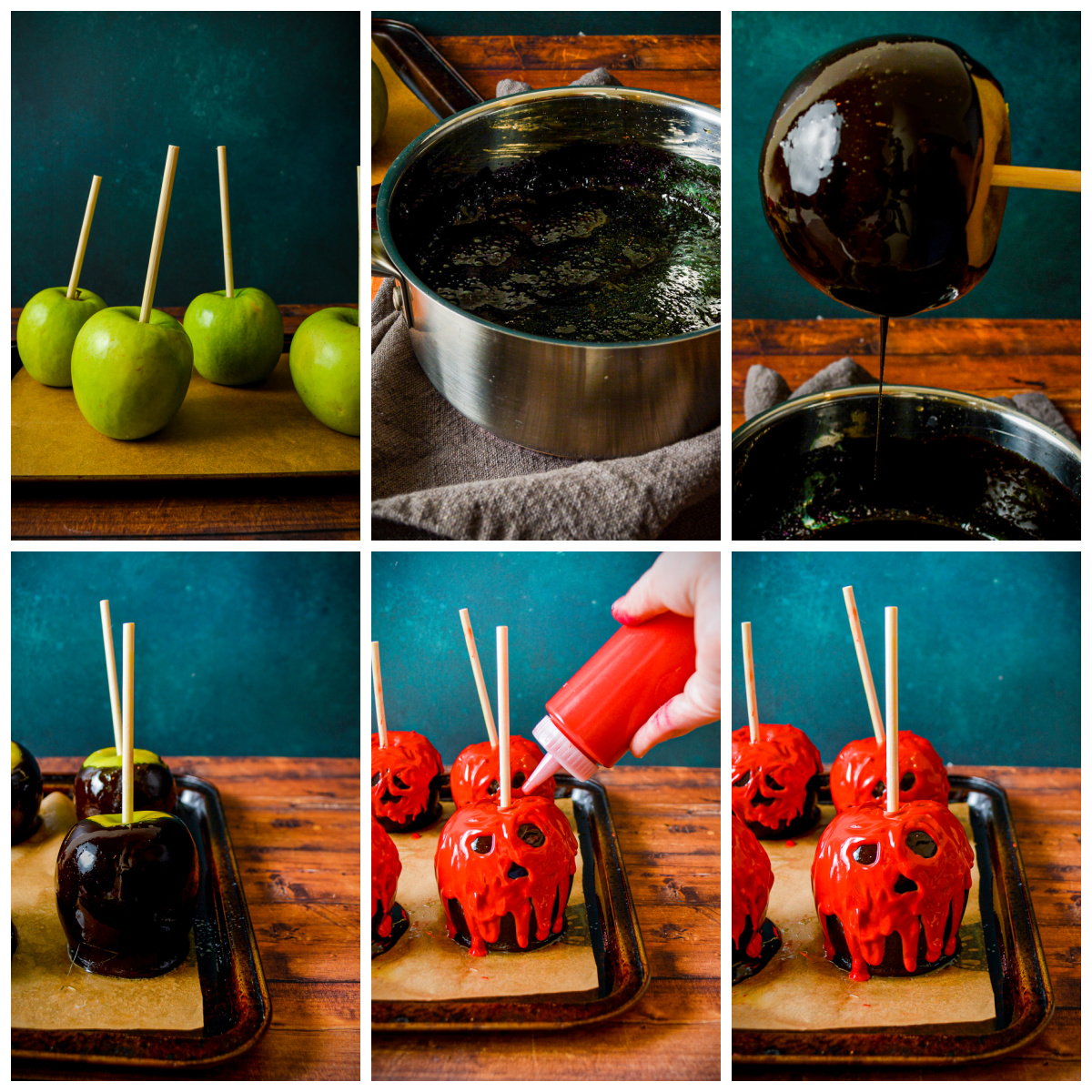 Step by step photos on how to make Poison Apples.