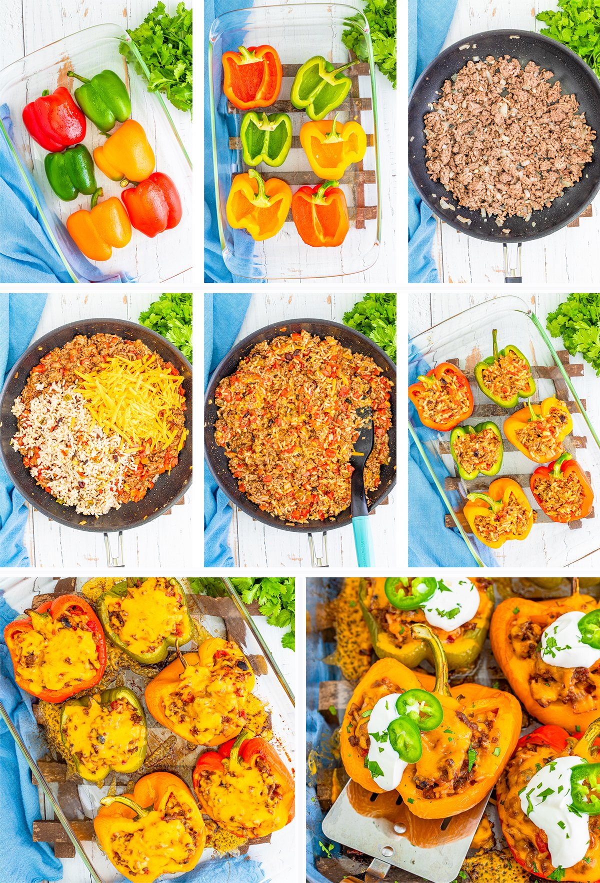Collage of how to make Mexican Stuffed Peppers in process photos