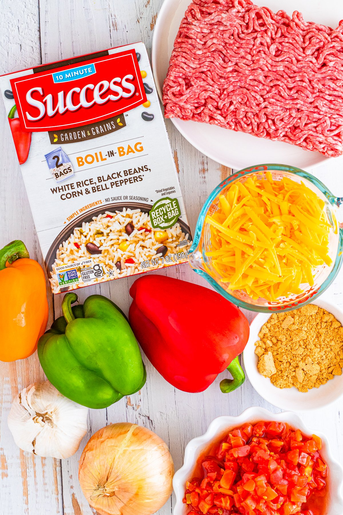 overhead shot of ingredients for Mexican stuffed peppers
