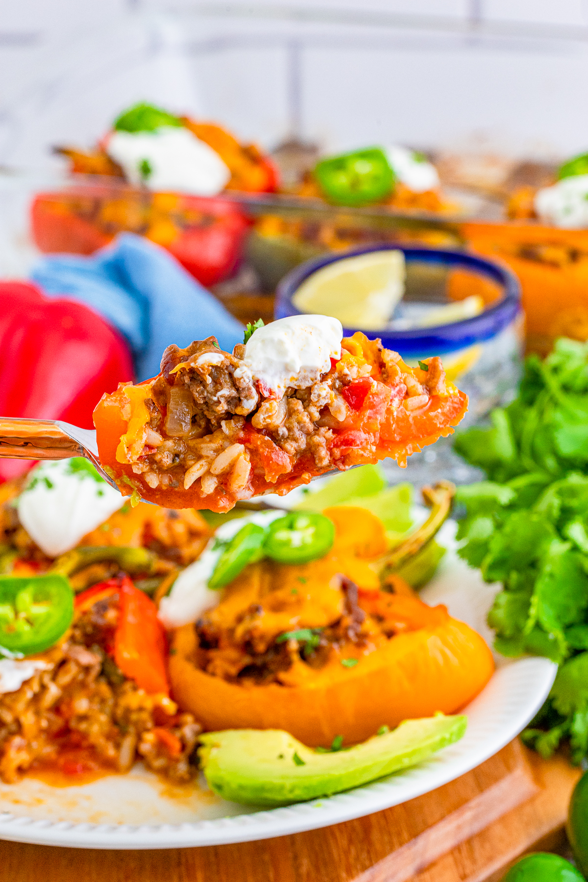 Bite of Mexican Stuffed Peppers on a fork