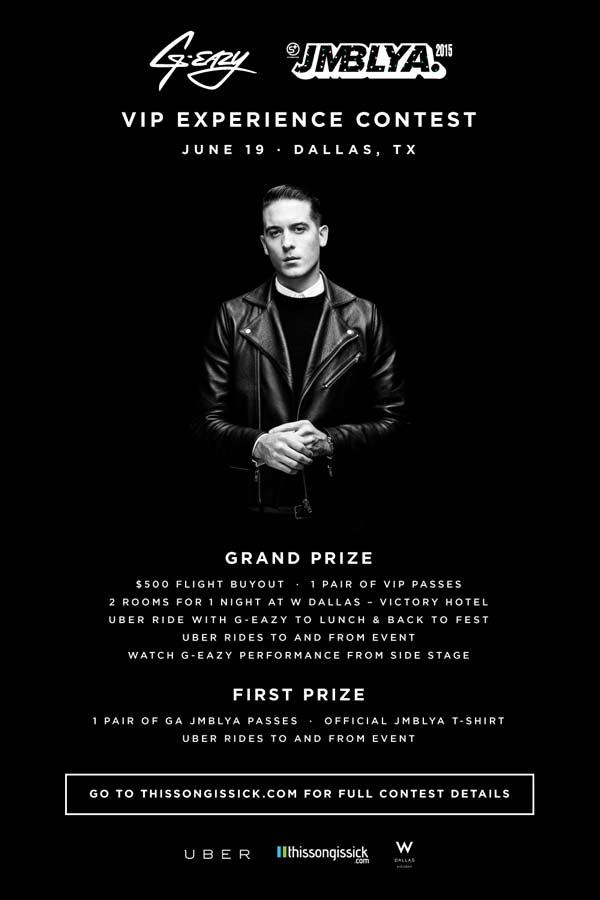 [GIVEAWAY] Hangout and Have Dinner With G-Eazy Before Going to JMBLYA Music Festival