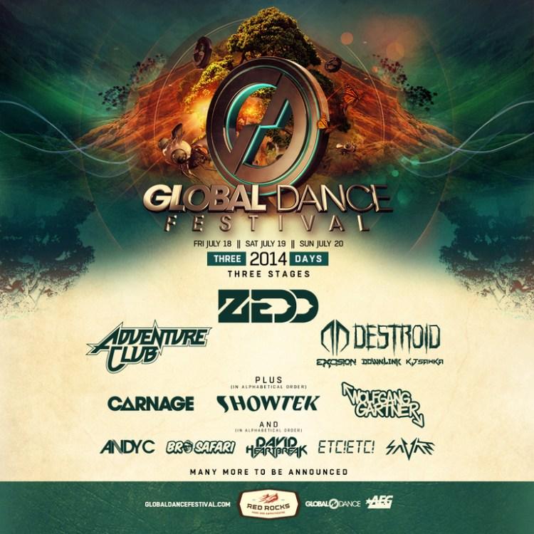 Global Dance Festival 2014 at Red Rocks Announces Huge 1st Wave Lineup ft. Zedd