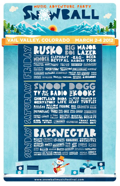 SnowBall Music Festival 2012 Full Lineup : Bassnectar