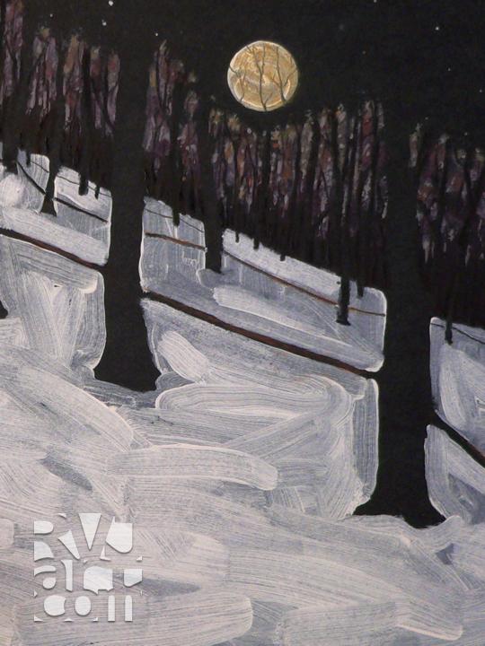 Sugarbush Moonrise, oil painting by Roger Vincent Jasaitis, copyright 2007, RVJart.com