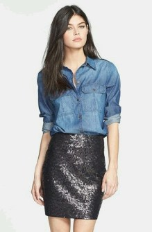 Sequin skirt denim shirt