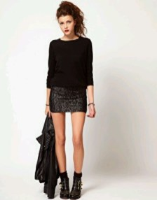 Sequin skirt jumper ankle boots