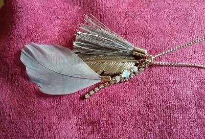 New Look layered necklace feather close up