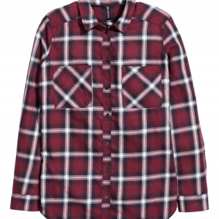 Burgundy checked shirt