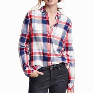 Red blue and white check shirt 2