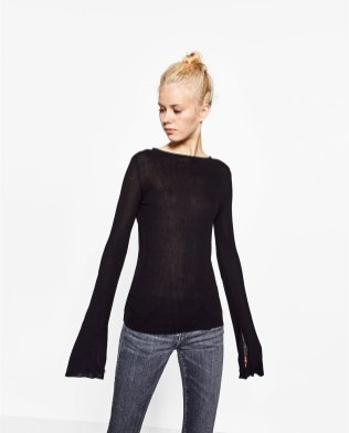 zara-black-ribbed-flared-sleeve-top