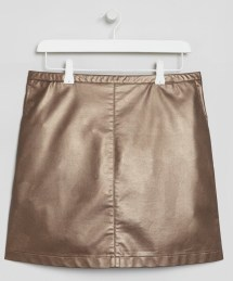 bronze-faux-leather-skirt