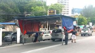 Batu Ferringhi night market set up 2